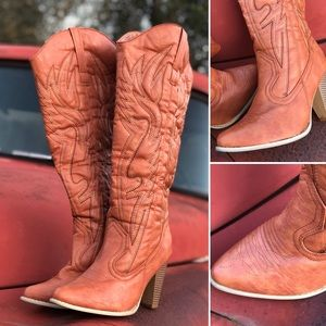 Orange boots , western boots, country style boot